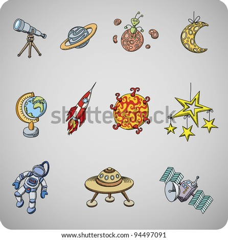 Space set of various astronomy objects for kids - stock vector