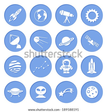 Space ship and astronomy icons set of rocket satellite earth alien isolated vector illustration