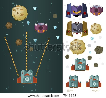 space ship game asset vector - stock vector