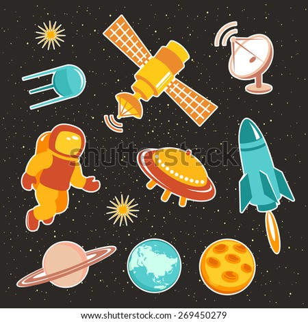 Space ship icons with planets, rockets, stars and astronaut - stock vector