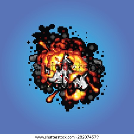 space ship on fire pixel art style retro illustration