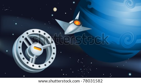 Space Shuttle Approaching Orbiting Space Station - stock vector