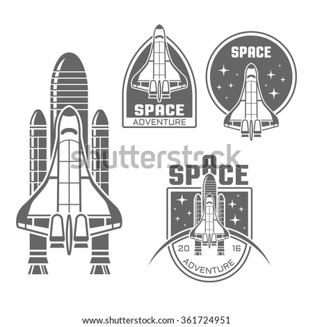 Space shuttle design element and space vector monochrome labels, badges, emblems in vintage style, isolated on white background - stock vector