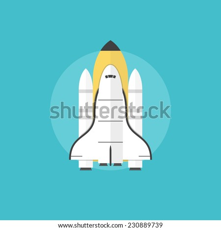 Space shuttle for interstellar mission taking off on a mission, indicating a successful start of a new profitable business. Flat icon modern design style vector illustration concept. - stock vector