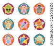 space star icons with motifs isolated on white - stock vector