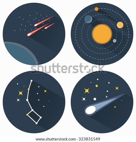 Space stars constellations, galaxies and comets. Solar system vector flat icons set illustration. Objects used for education astronomy manuals and science books, banners and flyers. - stock vector
