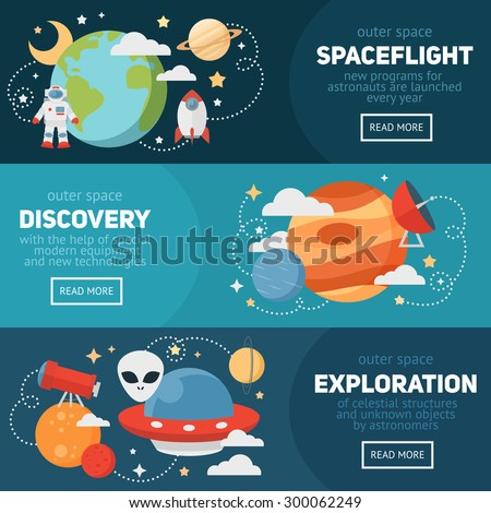 Space theme banners and cards with flat astronomic symbols of planets, rocket, stars, telescope for design, invitations and advertisement - stock vector