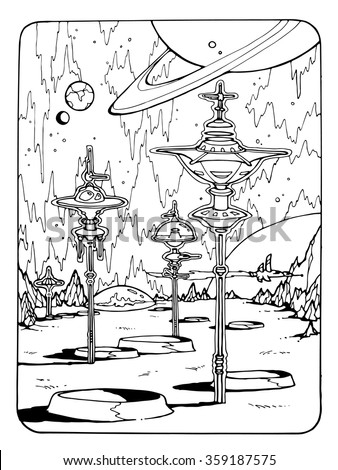 space theme; coloring page for adults