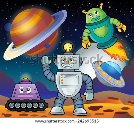 Space theme with robots 1 - eps10 vector illustration. - stock vector