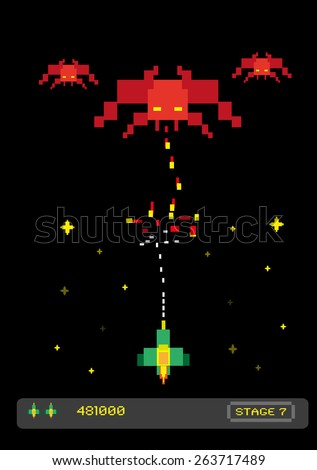 Space themed Fixed Shooter Arcade Game 1980s or 1990s style. Brave Space Fighter attacks Demonic Aliens.  Vector EPS10 Editable image and large jpg illustration. Does not infringe any copyright. - stock vector