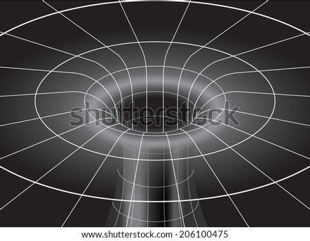 Space Time Distortion around a Black Hole in Space - stock vector