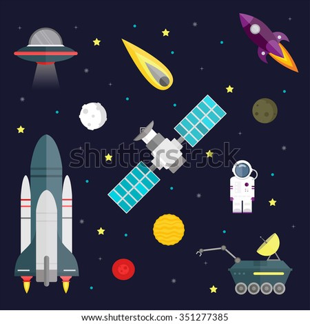 Space travel symbols infographic. Cosmos vector illustration. Space icons, travel spaceship, space travel. Space shuttle and astronaut. Planets set. Planet icons vector infographic. Space icons vector - stock vector