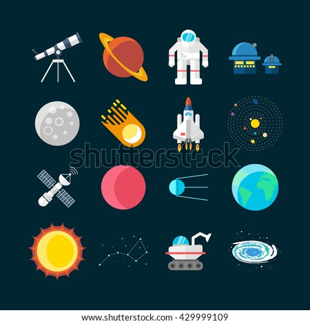 Space universe colored isolated icon set elements of outer space on black background vector illustration - stock vector