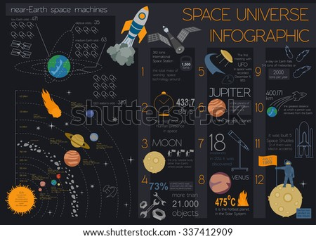 Space, universe graphic design. Infographic template. Vector illustration  - stock vector
