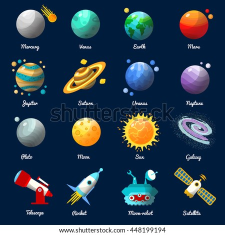 Space Universe Icon Set With Descriptions Of Planets Names And Technology Vector Illustration