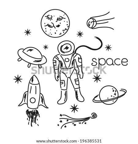 Space vector black and white objects line drawing