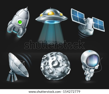 Space, vector icon set on black - stock vector
