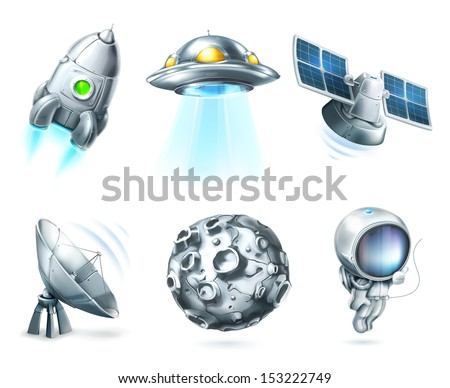 Space, vector icon set on white - stock vector