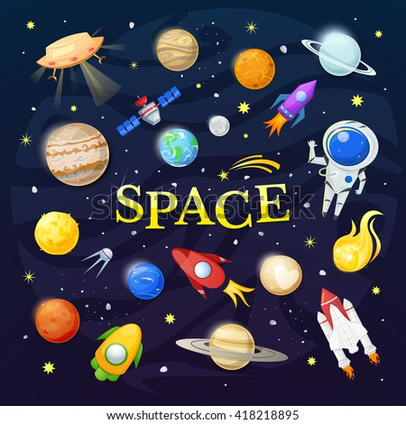 Space vector illustration, planets, rockets and stars, astronomy elements - stock vector