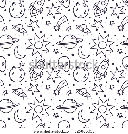 Space vector seamless pattern - stock vector