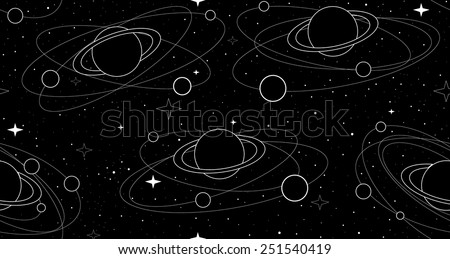 Space vector seamless pattern with planets and satellites, stars and constellations - stock vector