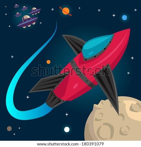 Space War Illustration - stock vector