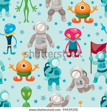 spaceman and ufo seamless pattern - stock vector