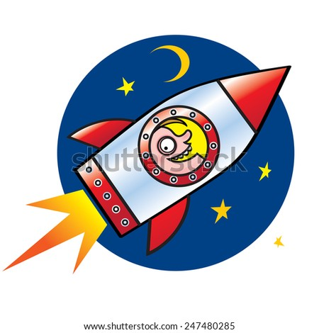 Spaceman - man flying in the rocket to the stars and moon - stock vector