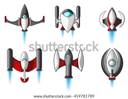 Spaceship And UFO Set/ Illustration of a set of cartoon funny UFO, unidentified spaceship and spacecrafts from alien invaders, with various futuristic shapes - stock vector