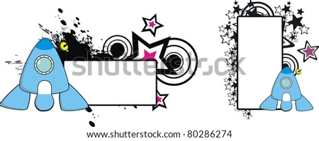 spaceship cartoon copyspace in vector format - stock vector