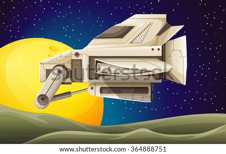 Spaceship flying in the space illustration - stock vector