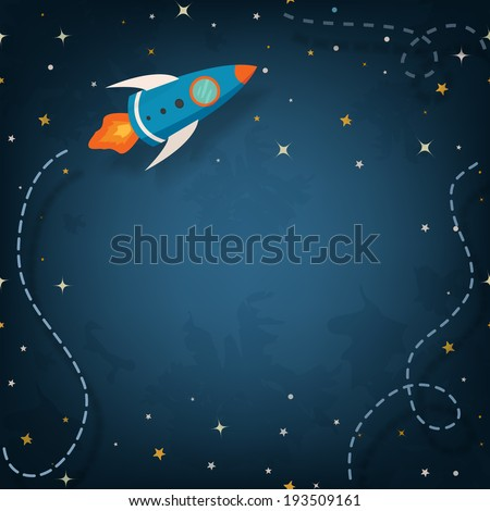 Spaceship illustration with space for your text in cartoon style - stock vector