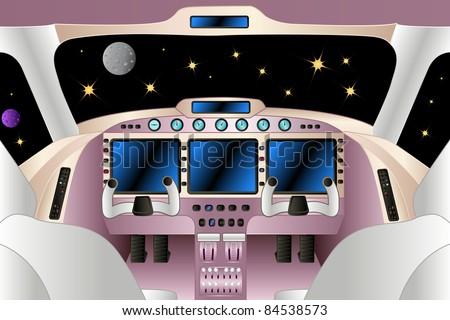 spaceship interior in the universe, vector illustration - stock vector