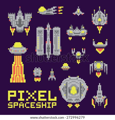 Spaceship isolated vector set - stock vector