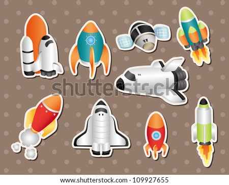 spaceship stickers - stock vector