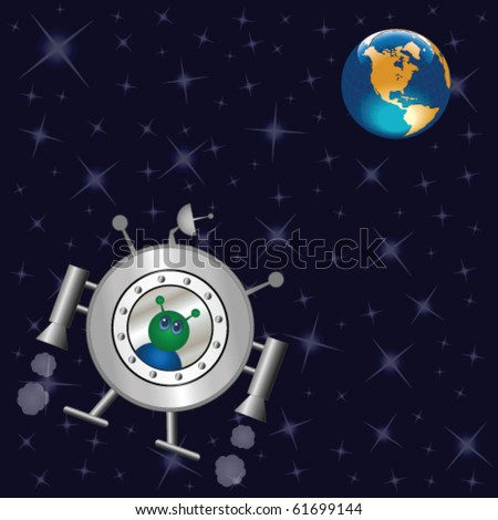 Spaceship travelling across the universe to earth - stock vector