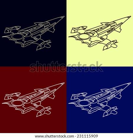 Spaceship vector icon illustration - stock vector