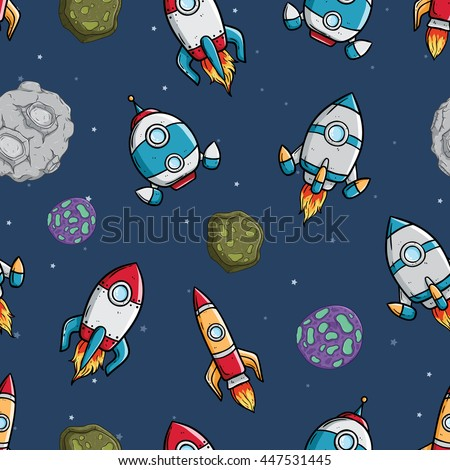 Spaceship with asteroid and star in seamless pattern