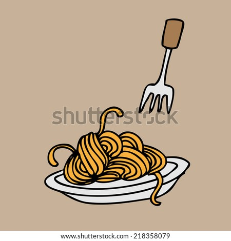 Spaghetti and fork cartoon vector - stock vector