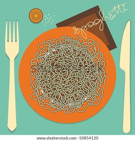 Spaghetti - menu or restaurant card - stock vector