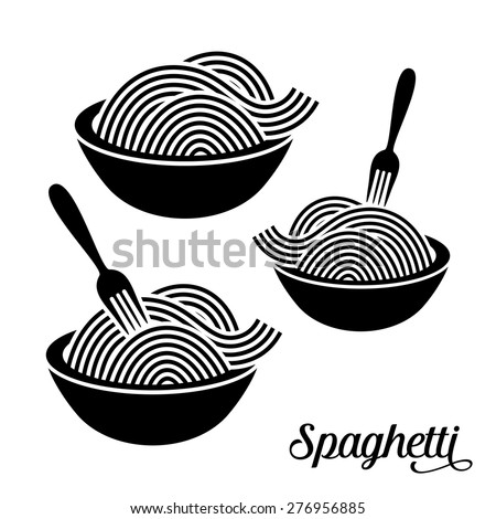 Spaghetti or noodle with fork black vector icons - stock vector