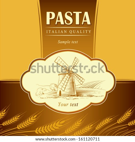spaghetti. pasta. Bakery. labels, pack for spaghetti, pasta - stock vector
