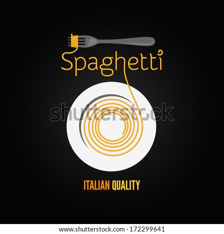 spaghetti pasta plate fork design menu background - stock vector