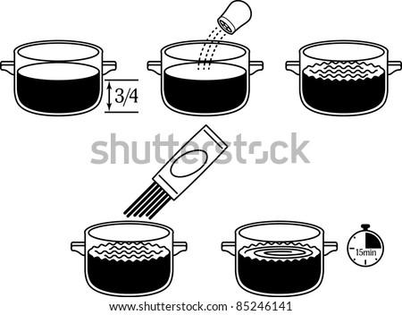 Spaghetti preparation icons - stock vector