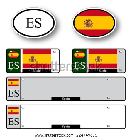 spain auto set against white background, abstract vector art illustration, image contains transparency - stock vector