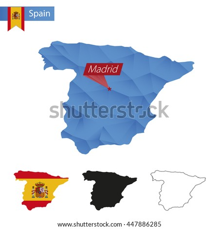 Spain blue Low Poly map with capital Madrid, versions with flag, black and outline. Vector Illustration. - stock vector