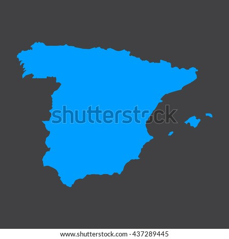 Spain blue map,border on black background. Vector illustration.