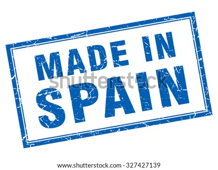 Spain blue square grunge made in stamp
