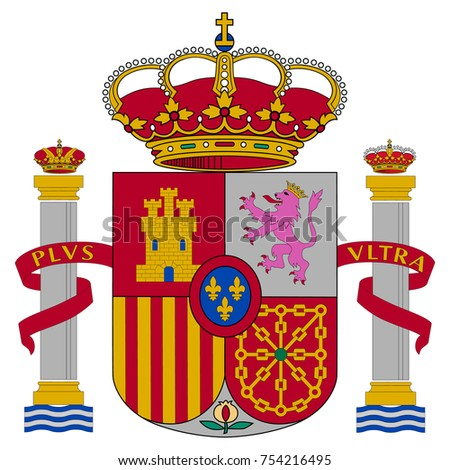 Spain coat of arms, official colors and proportion correctly. National Spain coat of arms. Vector illustration