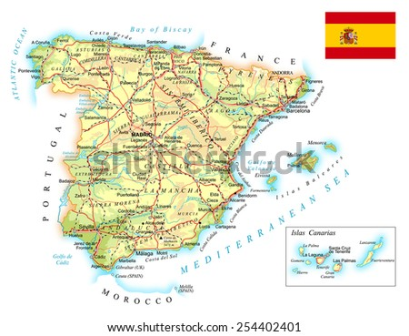 Spain - detailed topographic map - illustration - stock vector